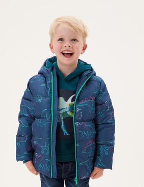 Erkek Çocuk Mavi Stormwear™ Dinozor Desenli Puffer Şişme Mont (2-7 Yaş)