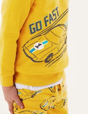 Erkek Çocuk Sarı Araba Desenli Sweatshirt (2-7 Yaş)