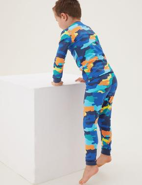 Çocuk Multi Renk Kamuflaj Desenli Pijama Takımı (1-7 yaş)
