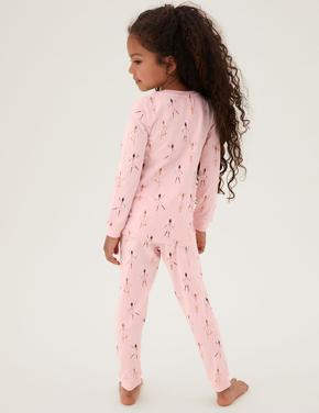 Çocuk Pembe Balerin Desenli Pijama Takımı (1-7 yaş)