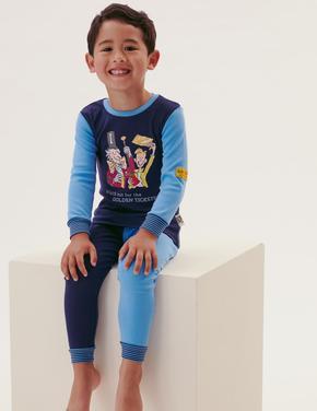 Çocuk Multi Renk Roald Dahl™ Saf Pamuklu Pijama Takımı (2-10 Yaş)