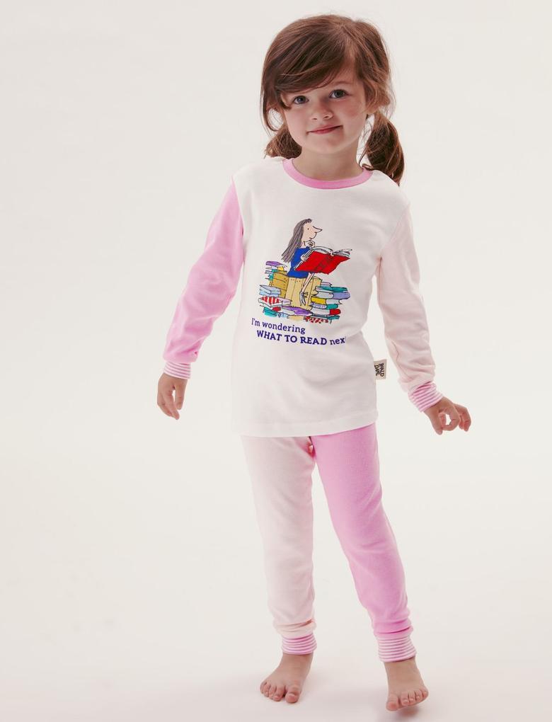 Çocuk Pembe Roald Dahl™ Saf Pamuklu Pijama Takımı (2-10 Yaş)