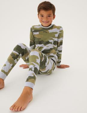 Çocuk Yeşil Kamuflaj Desenli Pijama Takımı (7-16 Yaş)