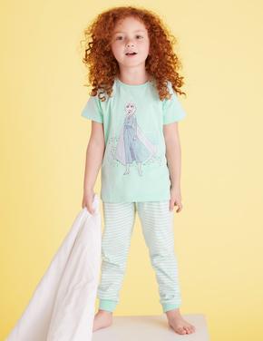 Çocuk Multi Renk Disney Frozen™ Saf Pamuklu Pijama Takımı (2-10 Yaş)