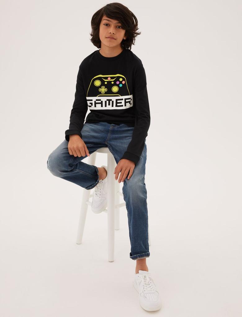 Erkek Çocuk Multi Renk 2'li Saf Pamuklu Oyun Desenli T-Shirt