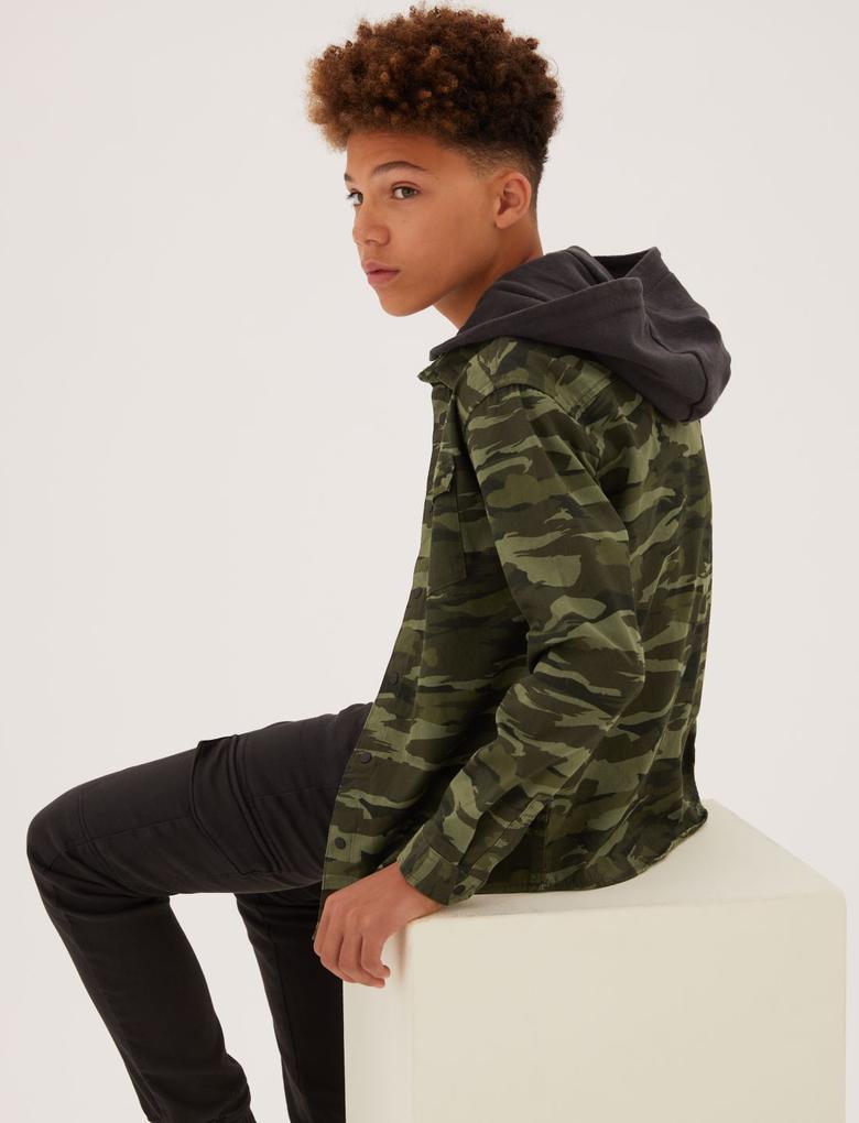 Erkek Çocuk Yeşil Kamuflaj Desenli Kapüşonlu Gömlek