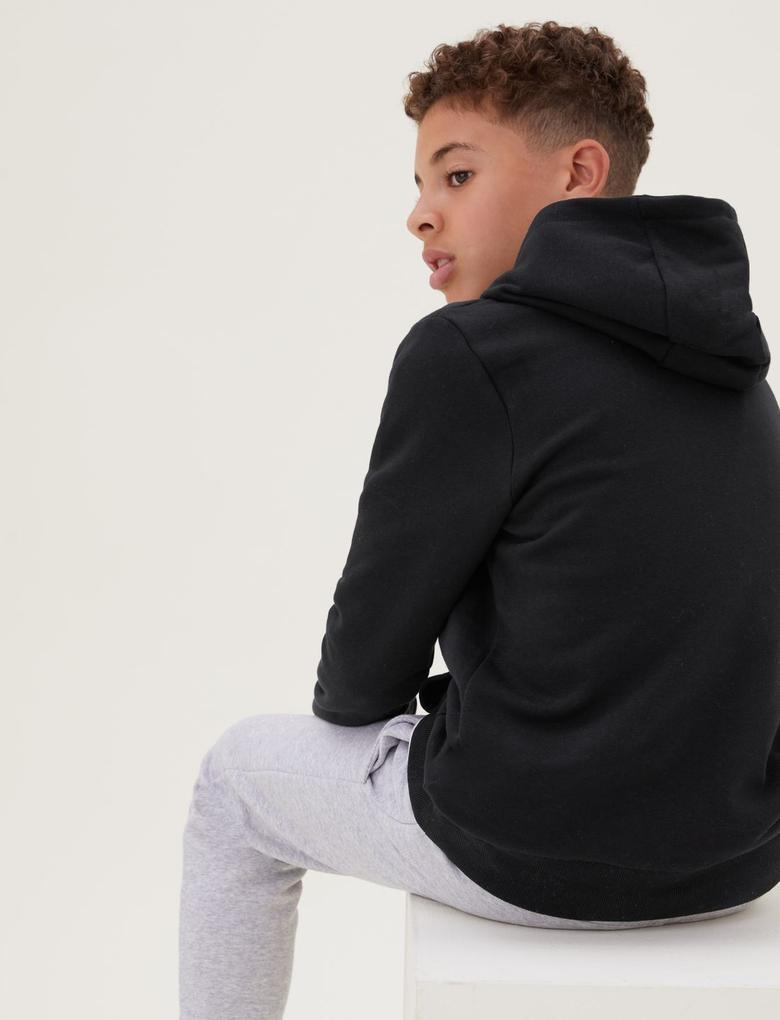 Erkek Çocuk Siyah Kapüşonlu Sweatshirt (6-16 Yaş)