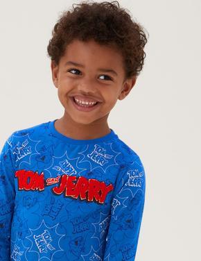 Erkek Çocuk Mavi Saf Pamuklu Tom and Jerry™ T-Shirt