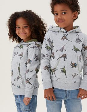 Erkek Çocuk Gri NHM™ Dinozor Desenli Kapüşonlu Sweatshirt