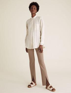 Kadın Kahverengi Yırtmaç Detaylı Skinny Fit Pantolon