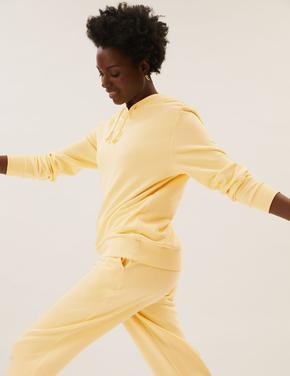 Kadın Sarı Uzun Kollu Kapüşonlu Sweatshirt
