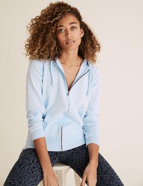 Kadın Mavi Saf Pamuklu Kapüşonlu Fermuarlı Sweatshirt