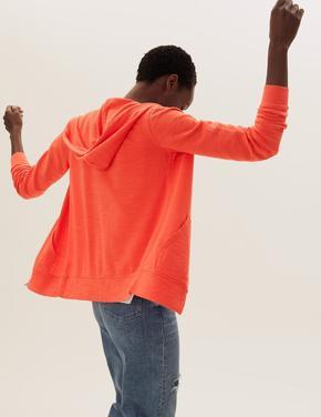 Kadın Turuncu Saf Pamuklu Kapüşonlu Fermuarlı Sweatshirt