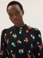 Kadın Multi Renk Çiçek Desenli Dik Yaka Midi Elbise