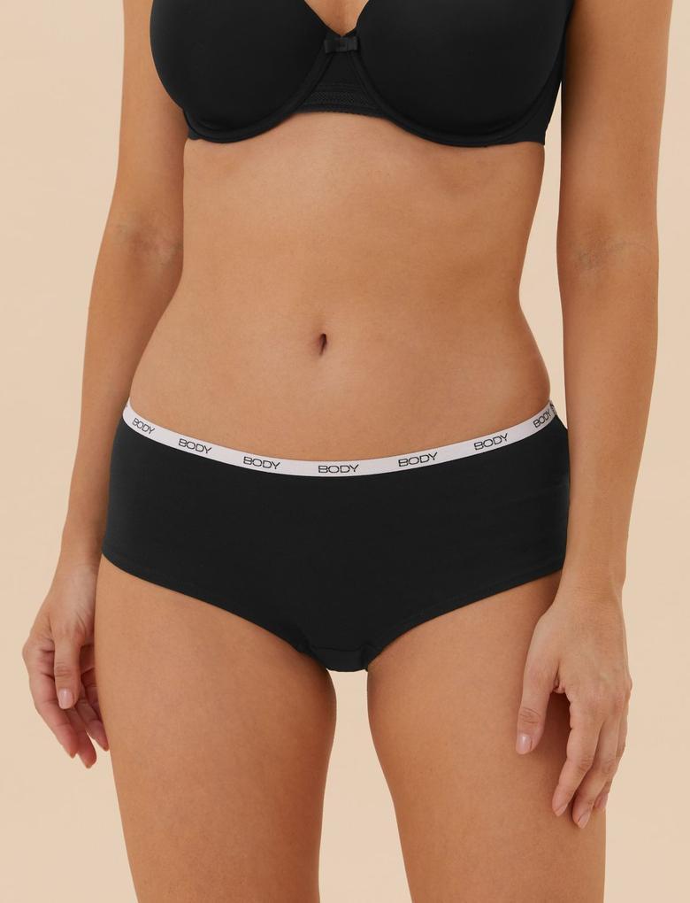 Kadın Siyah 5'li Body Logolu Cotton Lycra® Bikini Külot Seti