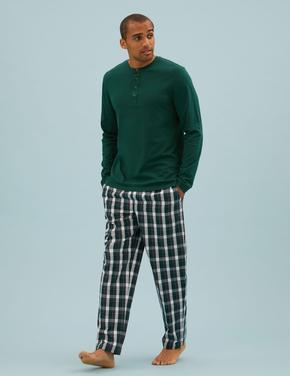 Erkek Yeşil Saf Pamuklu Kareli Pijama Takımı