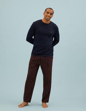 Erkek Lacivert Saf Pamuklu Baskılı Pijama Takımı