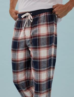 Erkek Turuncu Saf Pamuklu Kareli Pijama Altı