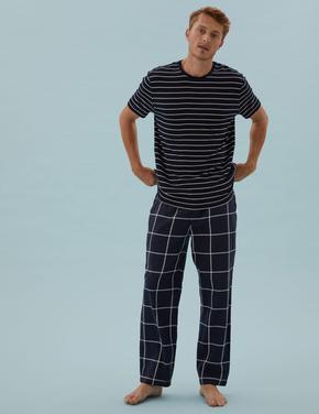Erkek Lacivert Saf Pamuklu Kareli Pijama Altı