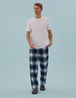 Erkek Mavi Saf Pamuklu Kareli Pijama Altı
