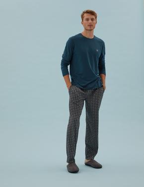 Erkek Mavi Saf Pamuklu Baskılı Pijama Takımı