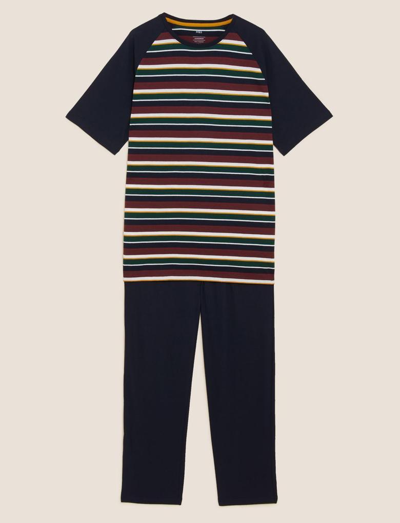 Erkek Multi Renk Saf Pamuklu Çizgili Pijama Takımı