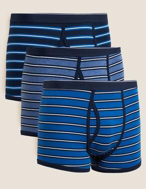 Erkek Mavi Cool&Fresh Çizgili 3'lü Trunk Seti