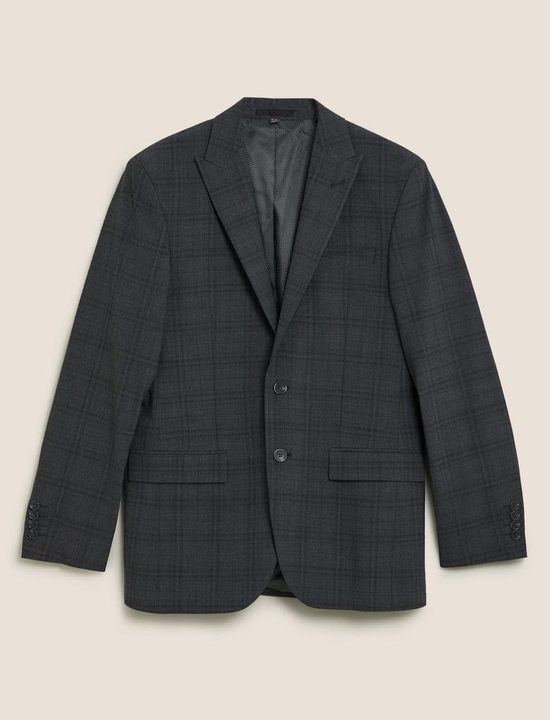 Erkek Gri Yünlü Kareli Tailored Fit Ceket