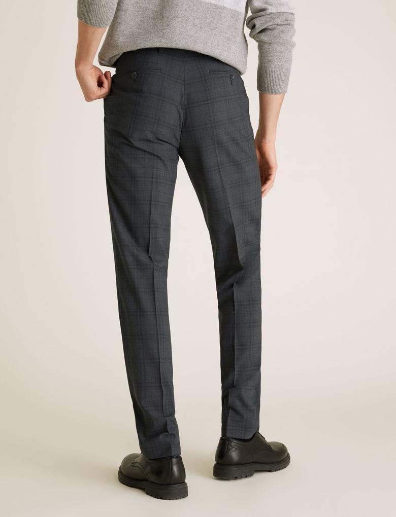 Erkek Gri Yünlü Kareli Tailored Fit Pantolon