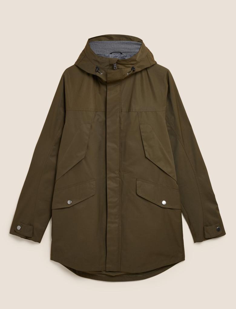 Erkek Yeşil Stormwear Pamuklu Yağmurluk