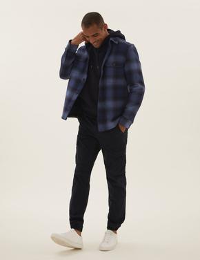 Erkek Mavi Kareli Gömlek Ceket