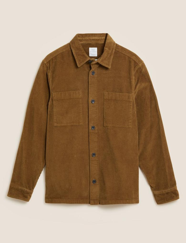 Erkek Bej Saf Pamuklu Fitilli Gömlek Ceket