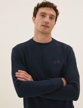 Erkek Lacivert Saf Pamuklu İşlemeli Sweatshirt