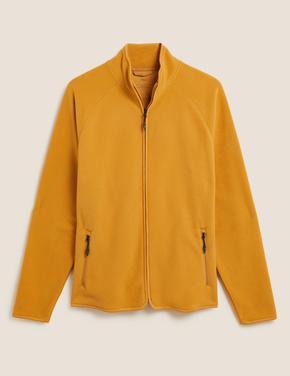 Erkek Sarı Fermuarlı Polar Sweatshirt