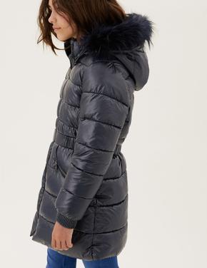 Kız Çocuk Lacivert Stormwear™ Kapüşonlu Puffer Şişme Mont (2-16 Yaş)
