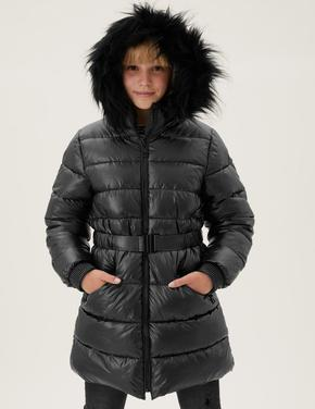 Kız Çocuk Siyah Stormwear™ Kapüşonlu Puffer Şişme Mont (2-16 Yaş)