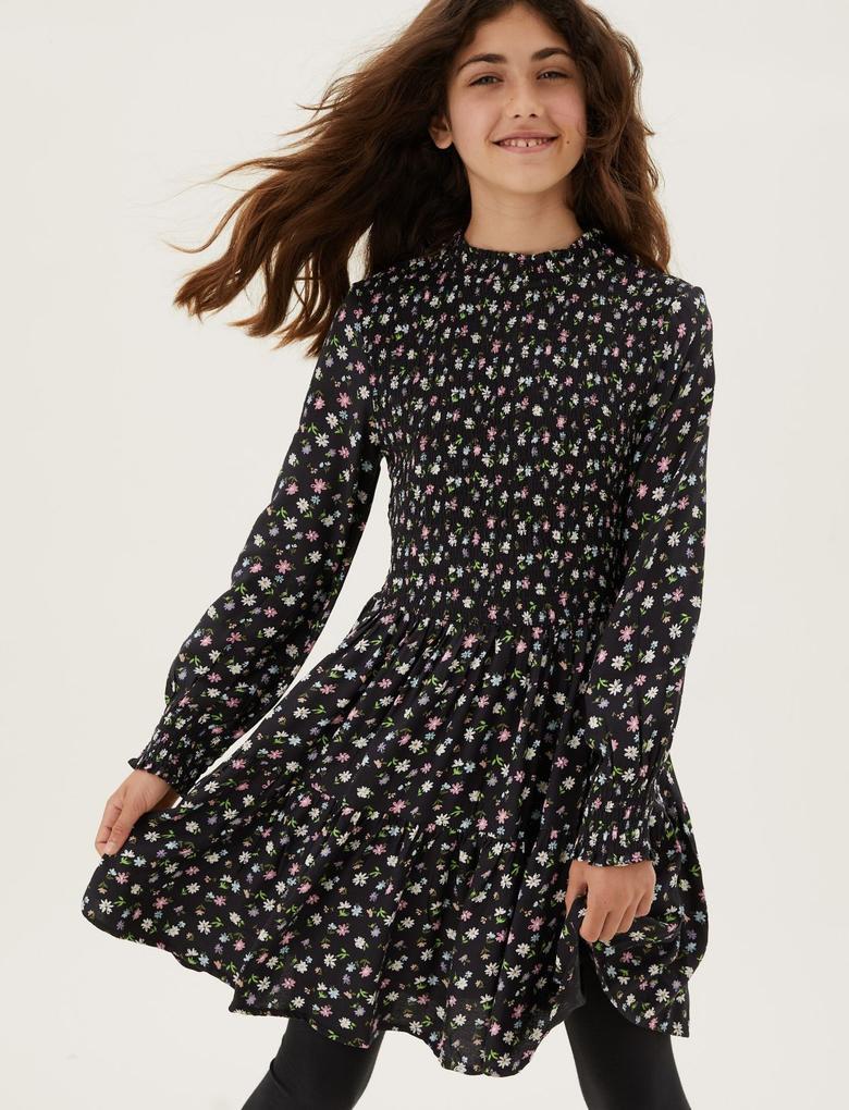 Kız Çocuk Siyah Çiçek Desenli Uzun Kollu Elbise (6-16 Yaş)