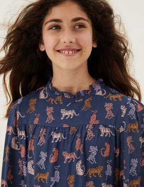 Kız Çocuk Lacivert Leopar Desenli Uzun Kollu Elbise (6-16 Yaş)