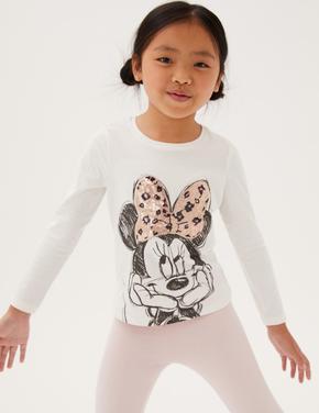 Kız Çocuk Beyaz Saf Pamuklu Minnie Mouse™ Pullu Bluz (2-7 Yaş)
