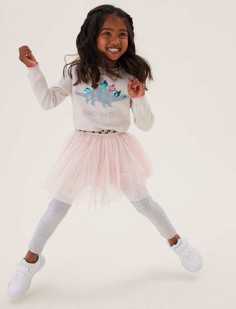 Kız Çocuk Pembe Simli Tütü Etek (2-7 Yaş)