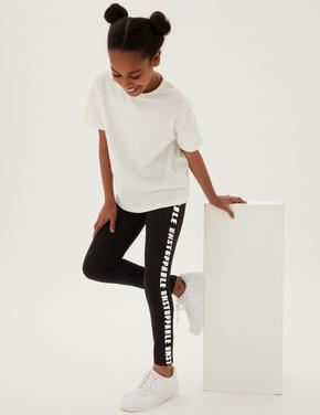 Kız Çocuk Siyah Slogan Detaylı Legging Tayt (6-16 Yaş)
