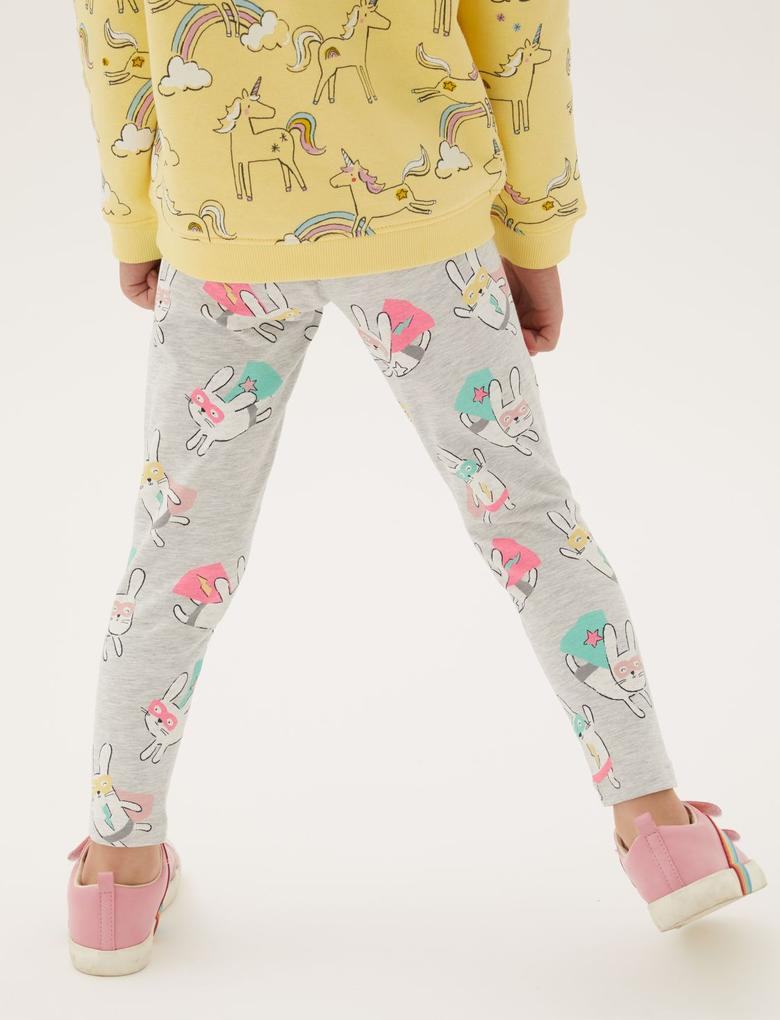 Kız Çocuk Gri Tavşan Desenli Legging Tayt (2-7 Yaş)