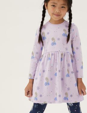 Kız Çocuk Mor Saf Pamuklu Disney Frozen™ Elbise (2-10 Yaş)