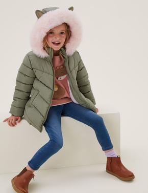 Kız Çocuk Yeşil Stormwear™ 3D Kulak Detaylı Puffer Şişme Mont (2-7 Yaş)