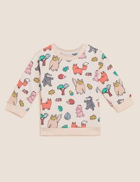Bebek Krem Grafik Desenli Yuvarlak Yaka Sweatshirt (0-3 Yaş)