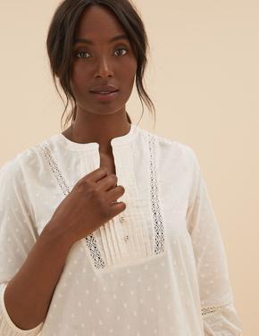 Kadın Bej Saf Pamuklu V Yaka Pijama Takımı