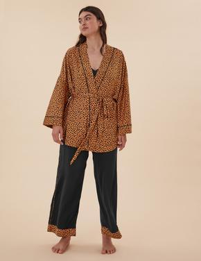 Kadın Siyah 3'lü Kombin Saten Pijama Takımı