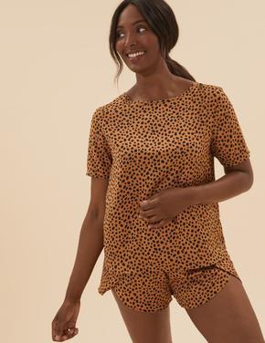 Kadın Kahverengi Desenli Saten Şort Pijama Takımı