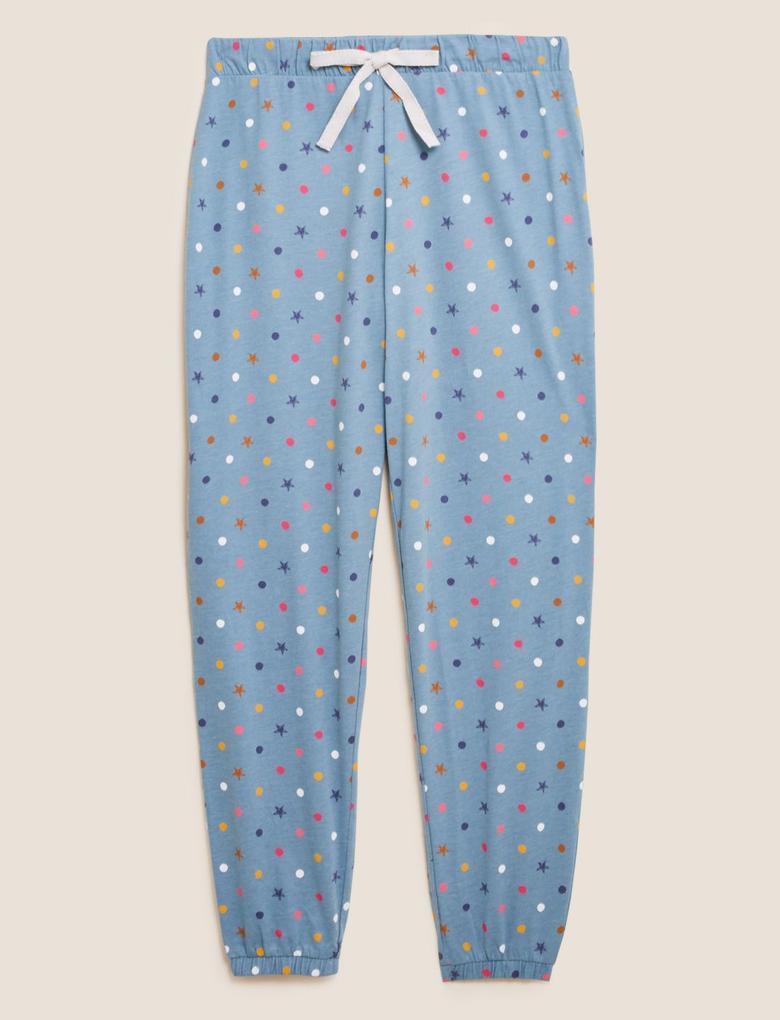 Kadın Yeşil Puantiye Desenli Pijama Altı