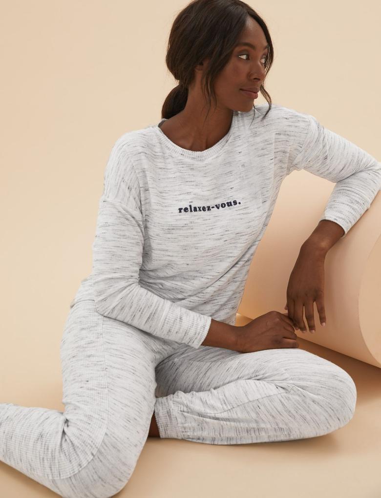 Kadın Gri Cosy Pijama Üst